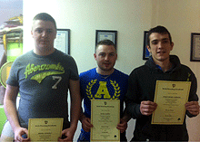 Carpet Fitting Course graduates left to right Gerard Connolly Gavin Dunphy and Christopher Sherwin