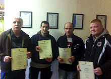Carpet Fitting Course graduates left to right Owen Nolan, Jason Bradley George Gardiner and Con Woodley