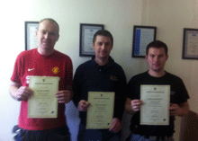 Commercial Vinyl Fitting Course graduates left to right Matthew Sweeney Graham Sandford and Dawid Komodzinski.